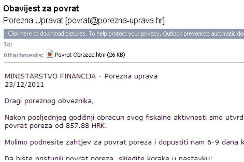 Ministarstvo financija upozorava na lažni mail!