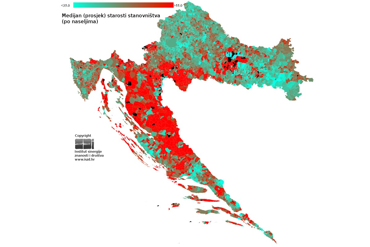Medijan starosti - Hrvatska