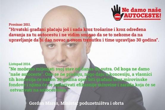 Maras (2010.): 'Ne vidim smisao koncesije', Ministar Maras (2014.): 'Autoceste se ne prodaju nego daju u koncesiju'