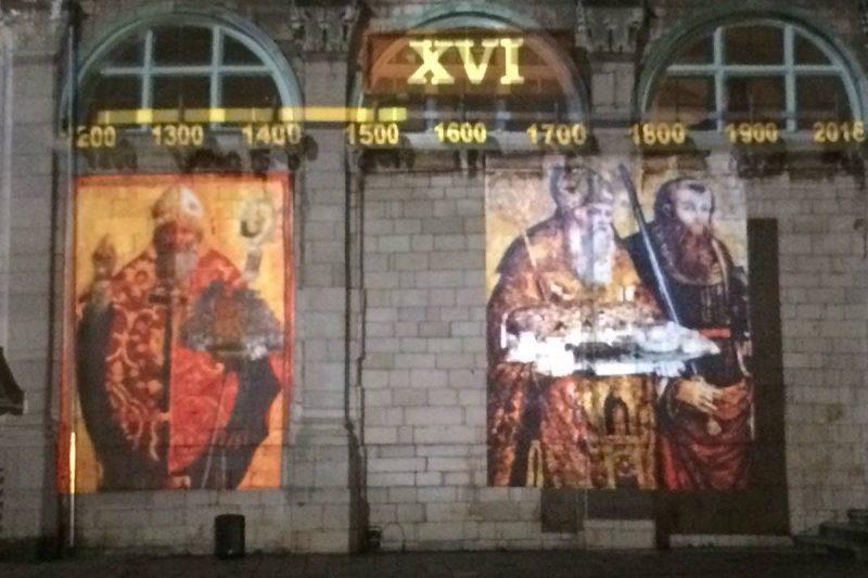 PARAC NA ZIDU KATEDRALE U 3D Mapping prezentaciji prikazan Sveti Vlaho