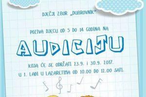 DJEČJI ZBOR DUBROVNIK Tko voli pjevati, neka se prijavi na audiciju